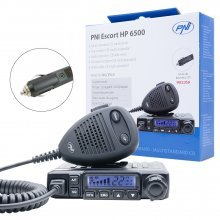 Statie radio CB PNI Escort HP 6500, multistandard, 4W, AM-FM, 12V, ASQ, RF Gain, mufa de bricheta inclusa