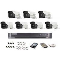 Sistem de supraveghere Hikvision Turbo HD, 4K / 8,3 Mp, 7 camere IR 60 m