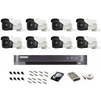 Sistem de supraveghere Hikvision Turbo HD, 4K / 8,3 Mp, 8 camere IR 60 m