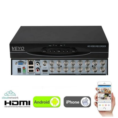 DVR NVR 16 CANALE AHD 4MP (2K) Veyo HVR8116H-C1