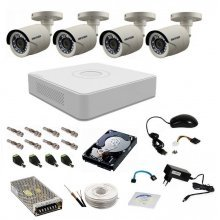Kit complet supraveghere 720P Hikvision Turbo HD Ext 4  IR 20 m