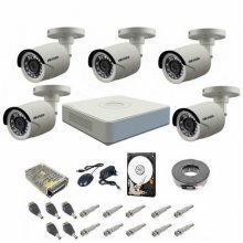Kit complet supraveghere 720P Hikvision Turbo HD Ext 5  IR 20 m