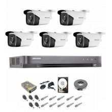 Kit complet supraveghere 5 MP Hikvision Turbo HD, 5 camere,  IR 40 m