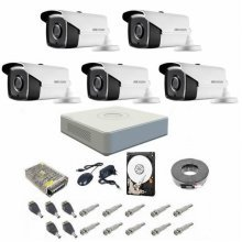 Sistem supraveghere complet 1080P Hikvision Turbo HD EXT 5 IR 40 m
