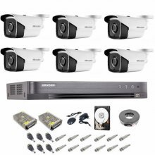 Kit complet supraveghere 5 MP Hikvision Turbo HD, 6 camere,  IR 40 m