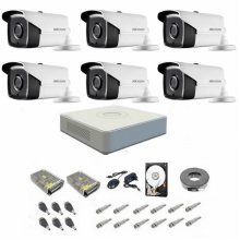 Sistem supraveghere complet 1080P Hikvision Turbo HD EXT 6 IR 40 m