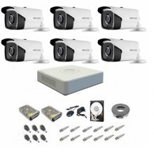 Kit complet supraveghere 720P Hikvision Turbo HD Ext 6 IR 40 m
