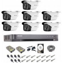 Kit complet supraveghere 5 MP Hikvision Turbo HD, 7 camere,  IR 40 m