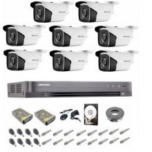 Kit complet supraveghere 5 MP Hikvision Turbo HD 8 camere,  IR 40 m