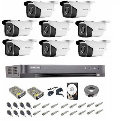 Sistem supraveghere complet 5 MP Hikvision Turbo HD EXT 8  IR 40 m