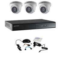 Kit supraveghere Hikvision Turbo HD 720P cu 3 camere DOM, IR 20 m