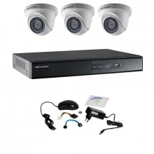 Kit supraveghere Hikvision Turbo HD 720P cu 3 camere DOM IR 20 m
