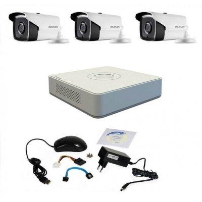 Kit supraveghere Hikvision Turbo HD 720P cu 3 camere IR 40 m