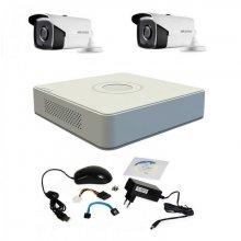 Sistem supraveghere Hikvision Turbo HD 720P cu 2 camere IR 40 m