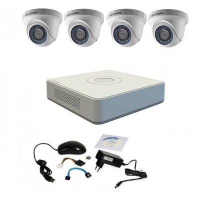 Kit supraveghere basic Hikvision TurboHD, 720P, 4 camere DOM