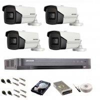 Sistem de supraveghere Hikvision Turbo HD,  4K / 8,3 Mp, 4 camere IR 60 m