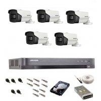 Sistem de supraveghere Hikvision Turbo HD, 4K / 8,3 Mp, 5 camere IR 60 m
