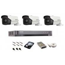 Sistem de supraveghere complet Hikvision Turbo HD,  inregistrare 4K / 8,3 Mp, 3 camere IR 60 m
