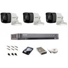 Sistem de supraveghere complet Hikvision Turbo HD, inregistrare 4K / 8,3 Mp, 3 camere IR 30 m
