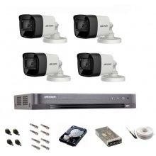 Sistem de supraveghere Hikvision Turbo HD, inregistrare 4K / 8,3 Mp, 4 camere IR 30 m