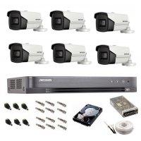 Sistem de supraveghere Hikvision Turbo HD, 4K / 8,3 Mp, 6 camere IR 60 m