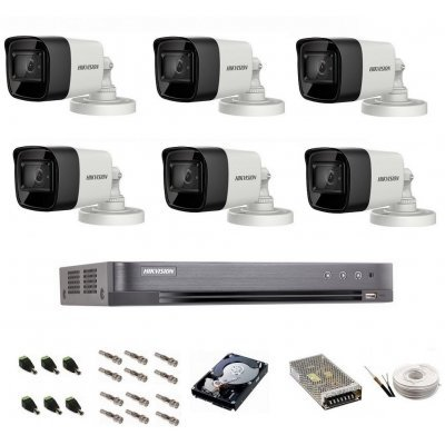 Sistem de supraveghere Hikvision Turbo HD, 4K / 8,3 Mp, 6 camere IR 30 m