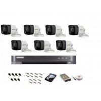 Sistem de supraveghere Hikvision Turbo HD, 4K / 8,3 Mp, 7 camere IR 30 m
