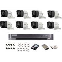 Sistem de supraveghere Hikvision Turbo HD, inregistrare 4K / 8,3 Mp, 8 camere IR 30 m