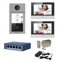 Kit videointerfon complet IP Hikvision pentru 2 familii