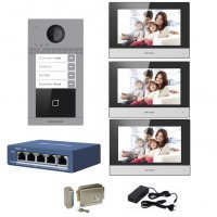 Kit complet videointerfon IP Hikvision pentru 3 familii