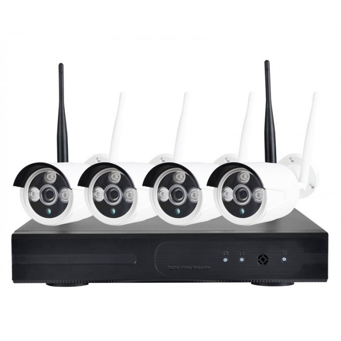 Sistem supraveghere complet exterior wireless ip 4 canale 1 mp ir 30m ve 4ch130wfi30 for Camere supraveghere exterior wireless