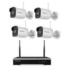 Kit de supraveghere WiFi Hikvision 4 Mp, pentru interior/exterior, 4 camere IR 30 m