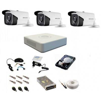 Sistem supraveghere complet, 3 camere 720P Hikvision TurboHD ir 40m
