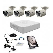 Kit supraveghere Hikvision Turbo HD 1080P cu 4 camere IR 20 m si HDD 500 Gb