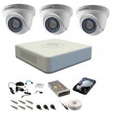 Sistem supraveghere complet 3 camere DOM Hikvision Turbo HD 1080P