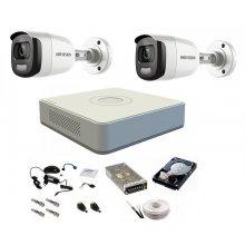 Sistem complet de supraveghere 1080P, 2 Mp, Hikvision COLOR VU, 2 camere, color noaptea