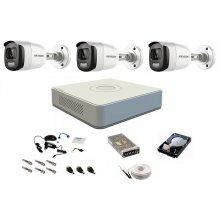 Sistem complet de supraveghere 1080P, 2 Mp, Hikvision COLOR VU, 3 camere, color noaptea