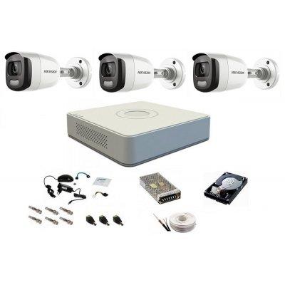 Sistem complet de supraveghere 1080P, 2 Mp, Hikvision, 3 camere, color noaptea