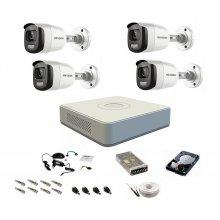 Sistem complet de supraveghere 1080P, 2 Mp, Hikvision, 4 camere, color noaptea