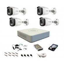 Sistem complet de supraveghere 1080P, 2 Mp, Hikvision COLOR VU, 4 camere, color noaptea