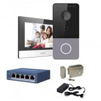 Kit complet videointerfon IP Hikvision pentru 1 familie, 1 post de interior