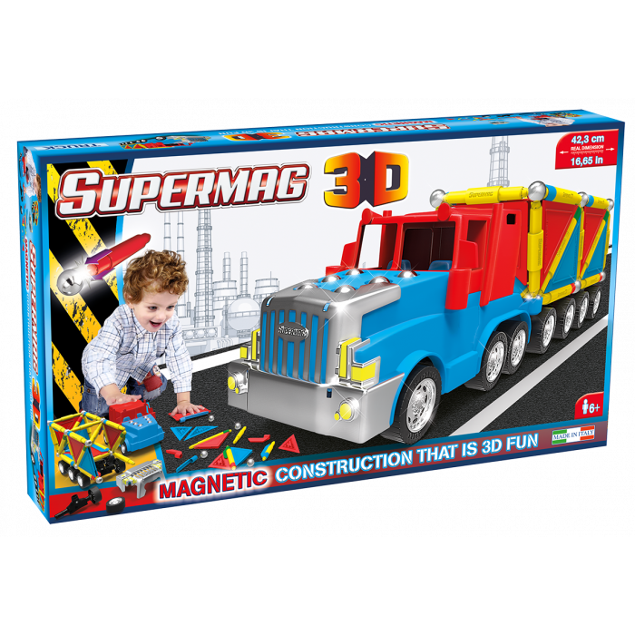 Jucarie cu magnet Camion 126 piese 3D Supermag